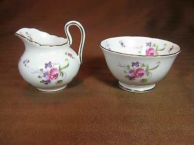 Royal Chelsea Individual Creamer and Open Sugar Bowl Red Flowers Gold Trim