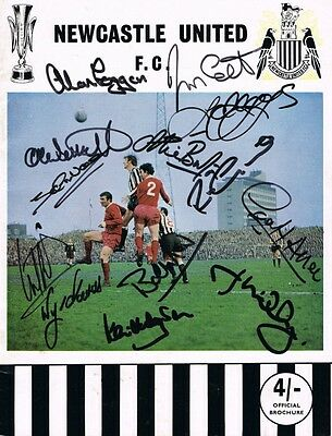 Multi Signed Newcastle United Brochure 1969 Fairs Cup Winners Moncur + Proof