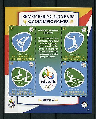 St Vincent & Grenadines 2016 MNH Olympic Games Rio 2016 4v M/S I Olympics Stamps