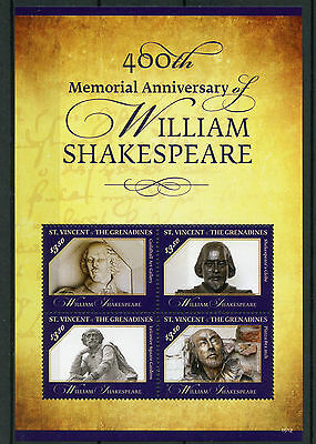 St Vincent & Grenadines 2016 MNH William Shakespeare 400th Memorial 4v MS Stamps