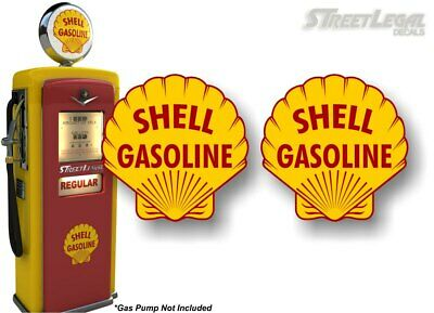 """12/"""" SHELL gasoline pump LUBSTER DECAL GAS OIL STICKER shell #2"""