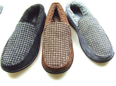 Mens Slippers House Shoes Corduroy Moccasin Slip On Indoor Outdoor Comfort #722C