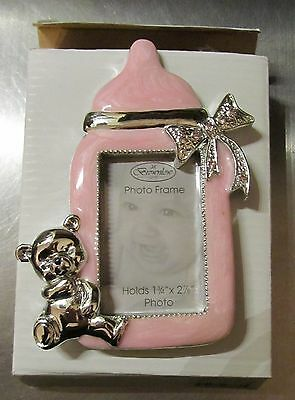 Jeweled Brownlow Pink Baby Bottle Baby Girl Picture Frame