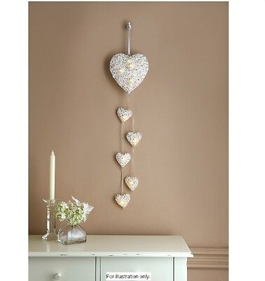 6 LED White Rattan Hanging String Heart Lights Battery Operated