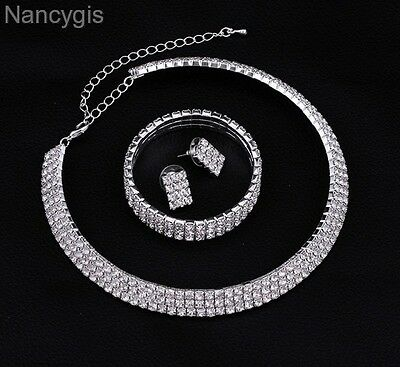 Silver Crystal Three Rows Necklace Bracelet and Earrings Wedding Jewellery Set