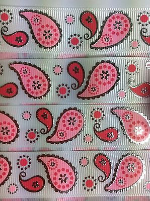 "Pink Paisley pattern with Silver Foil edges 7/8"" Printed Grosgrain  Ribbon 1m"