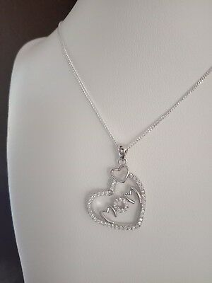 New Fashion Ladies Solid Sterling Silver 925 Love Heart Mom CZ Pendant Necklace