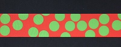 "Red with green spots7/8"" Printed Grosgrain Christmas Ribbon 1m"