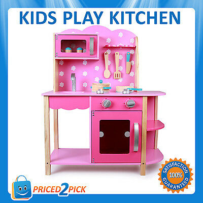 Childrens Kids Girls Pink Pretend Play Wooden Kitchen Set Toy Toddlers Cooking