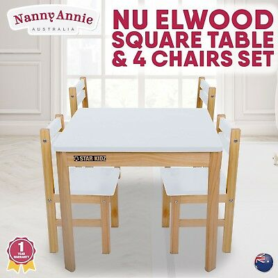 Childrens Wood Table and + 4 Chairs Square Kids Furniture Set WHITE
