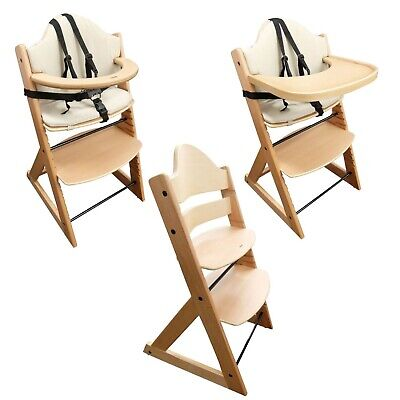 Baby High Chair | 3 in 1 Wooden Highchair with Tray and Bar (BEECH)