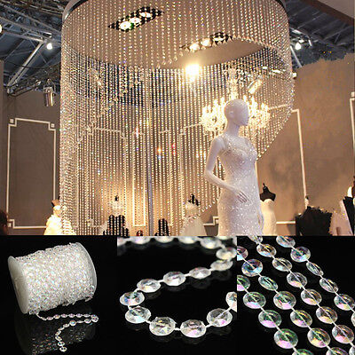 10M Clear Crystal Acrylic Octagonal Bead Curtain Hanging Chain Prisms Part Decor