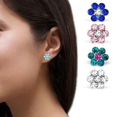1Pair Childrens Girls Sterling Silver Clear Crystal Flower Stud Earrings