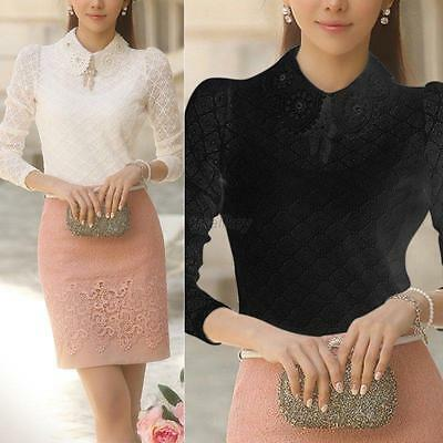 Sexy T Shirt Women Sexy Long Sleeve Shirt Casual Lace Blouse Loose Cotton Tops