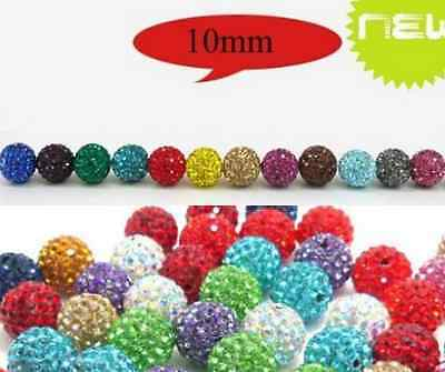 One Hole Half Drilled 10mm 50pcs/lot mixed Shamballa Crystal Beads fit Earring