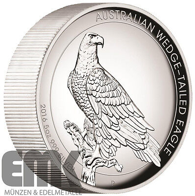 Australien - 8 Dollar 2016 - Wedge Tailed Eagle - High Relief PP - 5 Oz Silber