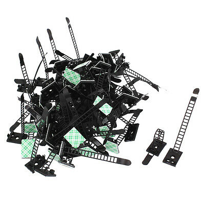 Plastic Stick on Adjustable Cable Wire Fixing Clip Holder Black 100Pcs