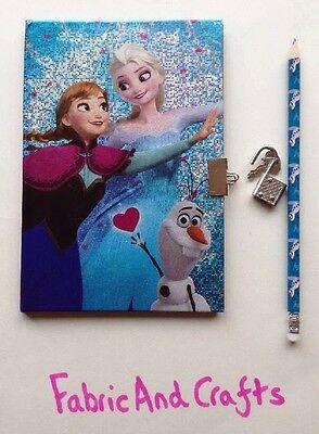 Disney Frozen Notebook-Elsa/Anna/Olaf Diary/Lock/Key & Pencil-Official-40 Pages