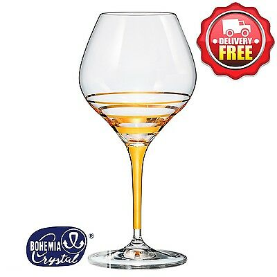 Bohemia Crystal Circle Gold Wine Glasses 350ml 2pcs | Pure 24 Karat Gold