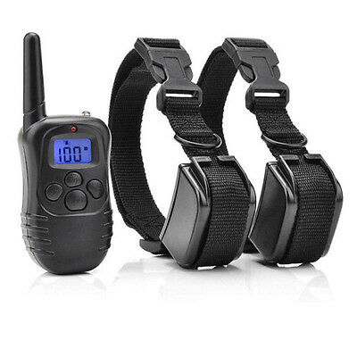 Pet Dog Training Collar Electric LCD 100LV Shock (Two Collars) US