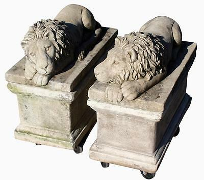 A Fine Pr Of Weathered Cast Stone Recumbent Lions Molded After Antonio Canova