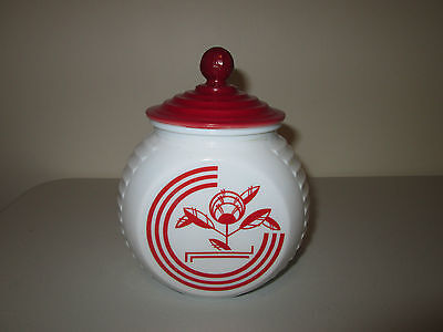 Anchor Hocking Vitrock Red Circle with Flower Grease Jar