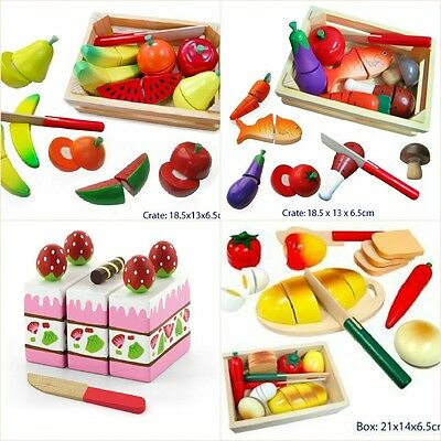 Wooden Cutting FOOD / CAKE / FRUIT Knife Velcro Pretend Play Kitchen Kids Toy