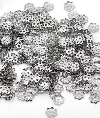 100+ Silver Tone Flower Bead End Caps 6mm Findings