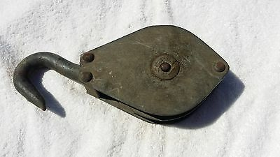 1896 Lane Brothers Vintage Metal Block and Tackle Pulley Iron Hook Farm  #595