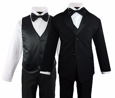 5325f94effcf7 Boys Formal Tuxedo Suit 5 Pieces Set Set Wedding Party Toddler Size 2T to 14