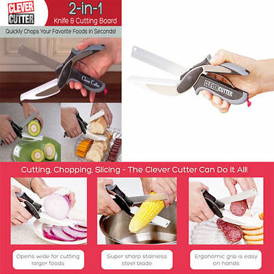 Clever Cutter 2-in-1 Cutting & Knife Board Scissors As Seen On TV with box