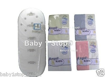 Moses Basket Mattress & 2 Fitted Sheets 74x28x2.5cm Vented Head Choice of colour