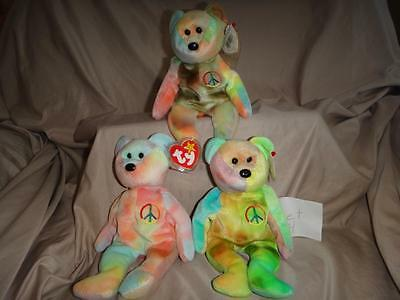 Lot of 3 Ty Peace Bears Beanie Baby NWT Set 4
