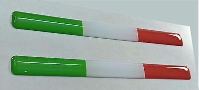 2x Italy Domed 3D Flag Stickers Italia Tricolore for Helmet Laptop Tablet Phone