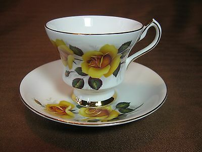 Royal London Bone China Footed Cup and Saucer Yellow Roses Gold Trim & Backstamp