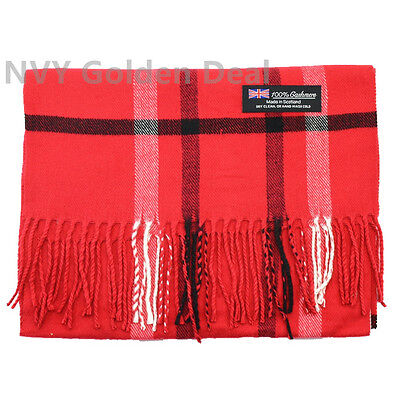 New 100% CASHMERE Scarf Made in Scotland Plaid Design Color Red Super Soft