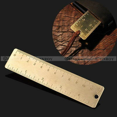 "Pocket Mini Vintage Brass Ruler 4"" keyring attachment bookmark Ruler Dual Scales"
