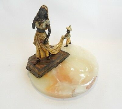 Vienna Cold Painted Bronze Lady with Servant Boy on Onyx Dish Signed Bergman