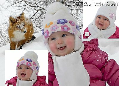 Baby Girls Infant Winter Hat & Scarf Set Christening Occasion Size 6 - 4 years