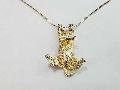 Vintage Unique Hanging Kitty Cat Sterling Silver Necklace .925  - 3102