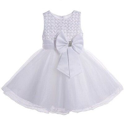 Baby Girls Christening special occasion Beaded Bodice dress with Bow In White