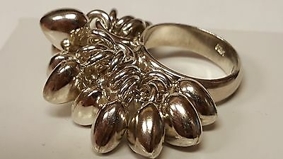 Unique Vintage Ladies Solid Sterling Silver Heart Charm Ring - Size 7.25 MEXICO