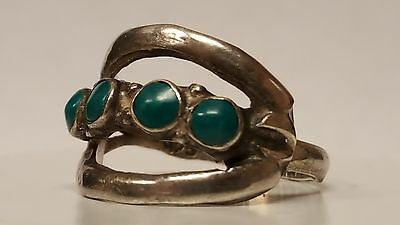 Old Vintage Ladies Sterling Silver Turquoise Ring - Size 8 - MEXICO