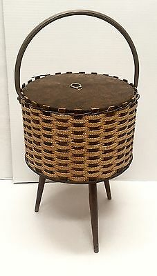 Mid Century Danish Modern Woven Wood Sewing Basket Vintage Retro