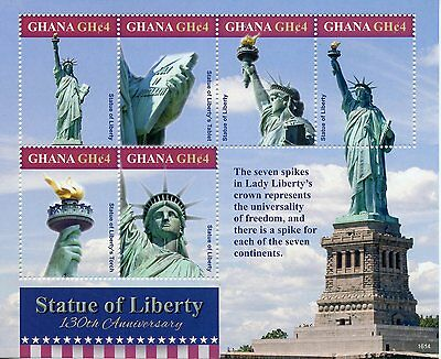 Ghana 2016 MNH Statue of Liberty 130th Anniv 6v M/S New York Architecture Stamps
