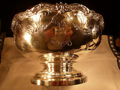 Heavy Sterling Silver Floral Centerpiece Punch Bowl Hand Chased Bailey, Banks