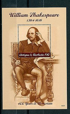 Antigua & Barbuda 2016 MNH William Shakespeare 400th Memorial 1v S/S Stamps