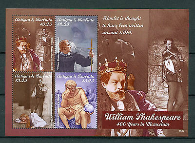 Antigua & Barbuda 2016 MNH William Shakespeare 400th Mem Hamlet 4v M/S Stamps