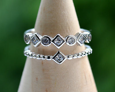 Sterling Silver 925 Double Row Eternity Ring Size L Adjustable