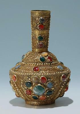 Indian Brass Filigree and Stone Cabochon Vase